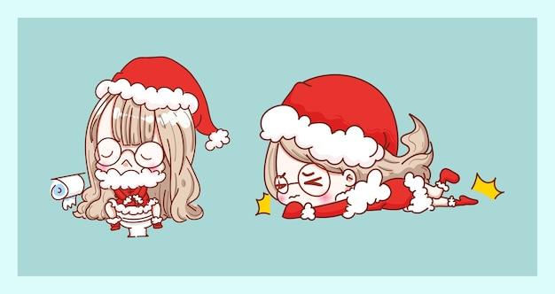 トイレのかわいいサンタクロースとキャラクターデザインのメリークリスマスの背景に分離された滑りやすい。