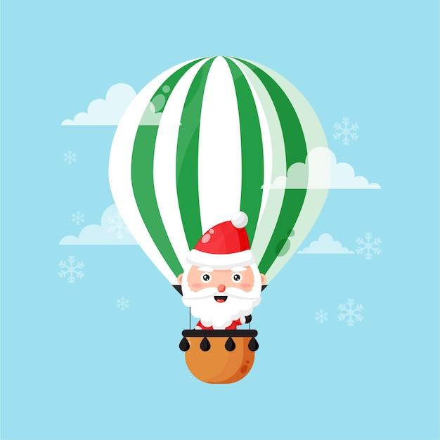 Cute santa claus is flying in a hot air balloon