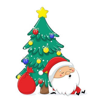 かわいいサンタクロースがクリスマス3近く眠っています。メリークリスマスデザイン。