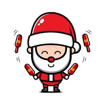 Милый санта-клаус жонглирование карикатурой