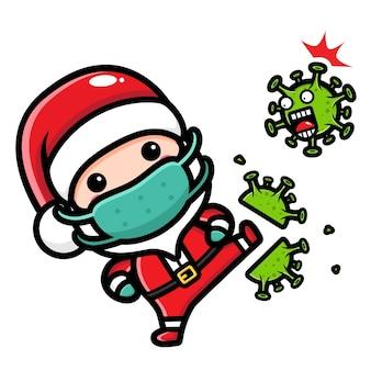 귀여운 산타 클로스가 바이러스를 걷어차 다