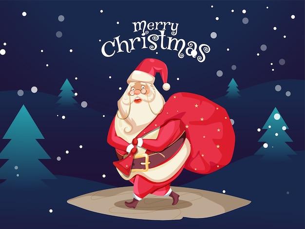 걷는 포즈에 빨간색 무거운 자루를 들고 귀여운 산타 클로스