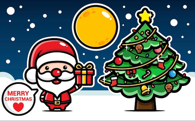 Cute santa claus and lovely christmas tree