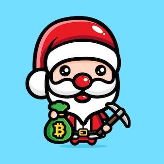 귀여운 산타클로스 채굴 비트코인