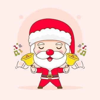Симпатичный санта-клаус, играющий в золотой колокольчик чиби, иллюстрация персонажа