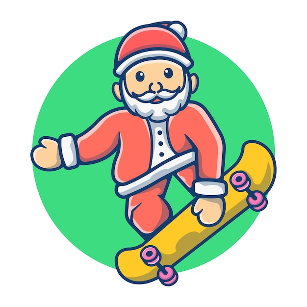 スケートボードをするかわいいサンタクロース