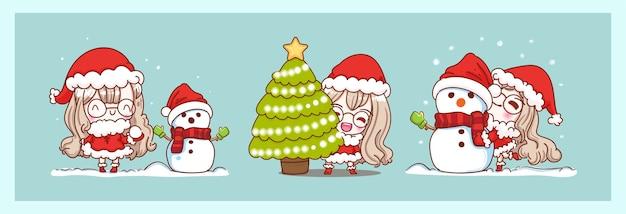 雪だるまを遊んでいるかわいいサンタクロースとキャラクターのデザインでメリークリスマスの背景に孤立して幸せ。