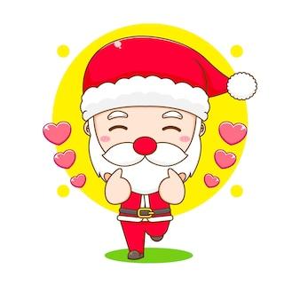 Симпатичный санта-клаус, позирующий любовной иллюстрацией персонажа чиби