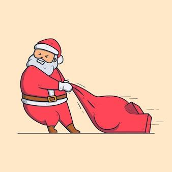 귀여운 산타 클로스가 선물 가방을 당깁니다. 크리스마스 만화 캐릭터