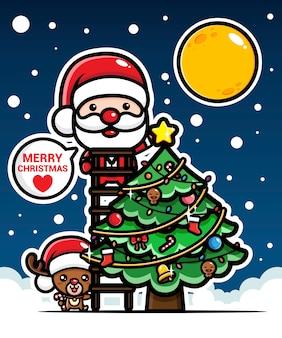 Cute santa claus put a star on the christmas tree