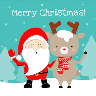 Cute santa claus and reindeer cartoon lovely christmas background.