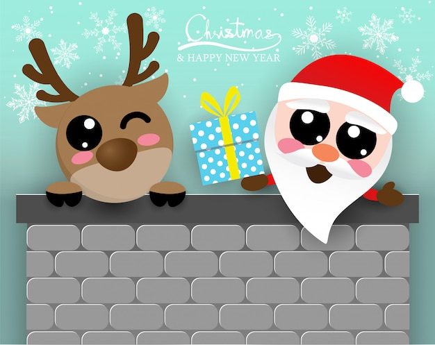 Cute santa claus and reindeer in chimney,digitalcraft,paper cut