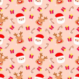 Cute santa claus and reindeer seamless pattern.