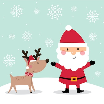 Cute santa claus and reindeer with snowflakes on green