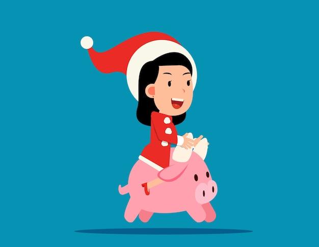귀여운 산타 클로스는 작은 황소를 타고. 올해의 황소