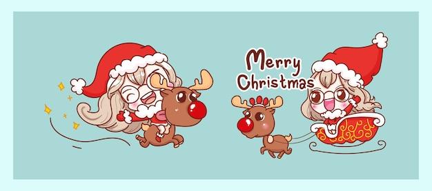 トナカイに乗ってかわいいサンタクロースと幸せなキャラクターのデザインでメリークリスマスの背景に分離されました。