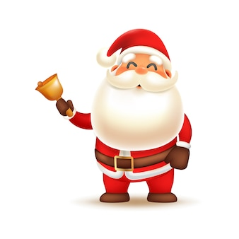 Cute santa claus ringing bell