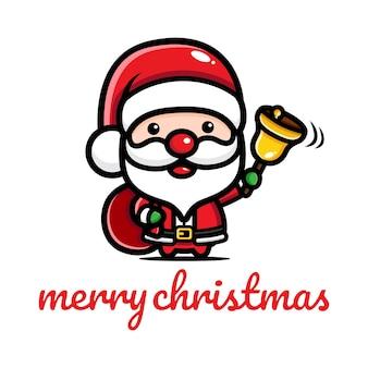 귀여운 산타 클로스가 벨을 울린다