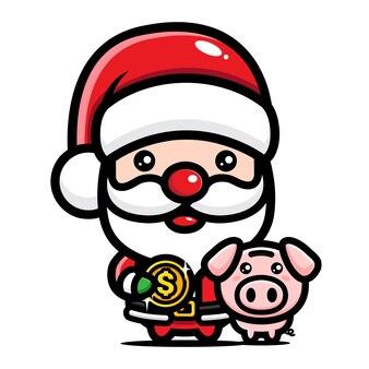 돈을 절약하는 귀여운 산타 클로스