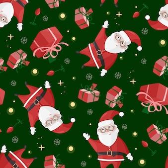 Cute santa claus seamless pattern.