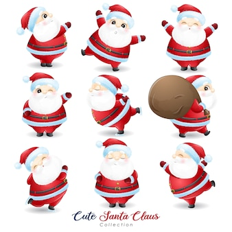 Cute  santa claus set for christmas day with watercolor illustration