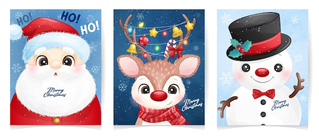 Cute  santa claus set for christmas with watercolor illustration