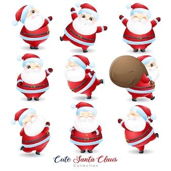 水彩イラストでクリスマスの日に設定したかわいいサンタクロース