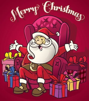 Cute santa claus sit at the chair surrounding with a bunch of christmas gift