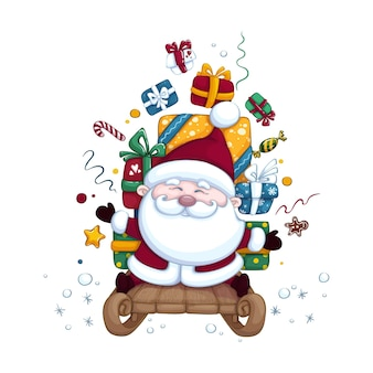 Cute santa claus on a sled carrying boxes of gifts. christmas or new year illustration. character isolated.