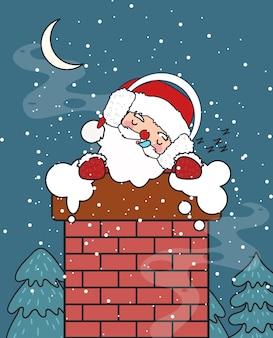 굴뚝 그림에서 자 고 귀여운 산타 클로스입니다.