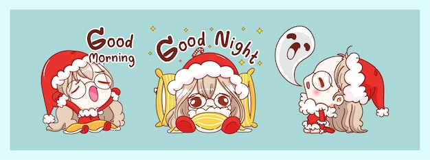 Cute santa claus sleepy and bedtime isolated on merry christmas background with characters design.