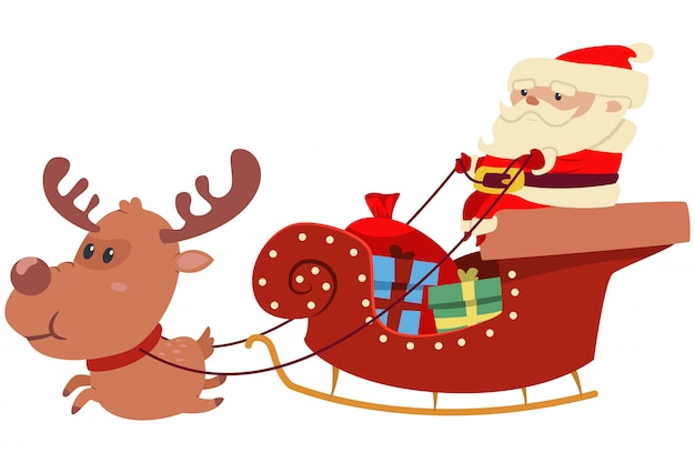 Cute santa claus in sleigh with christmas reindeer, sack and box with gifts. vector cartoon illustration isolated