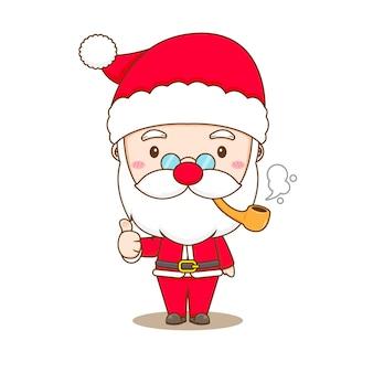 Милый санта-клаус курит и показывает большой палец вверх иллюстрации персонажа чиби