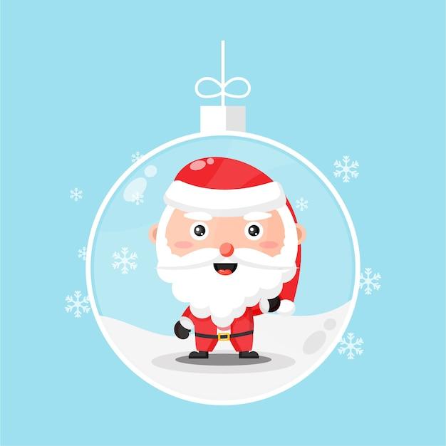 Cute santa claus in a snowglobe