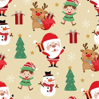 かわいいサンタクロース、雪だるま、鹿、ギフト、小さなエルフ、クリスマスツリーのシームレスパターン
