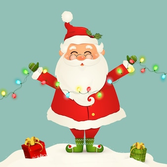 Милый санта клаус стоя в снеге держа гирлянду светов рождества изолированный. дед мороз на зимние и новогодние праздничные рождественские праздники. счастливый санта-клаус мультипликационный персонаж.