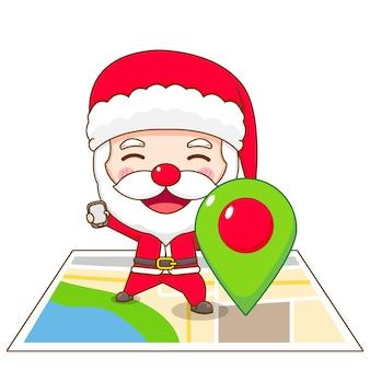 Симпатичный санта-клаус, стоящий на карте и держащий булавку местоположения чиби, иллюстрация персонажа