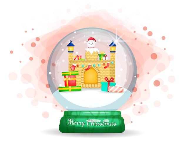 Cute santa claus stuck in the chimney cartoon illustration
