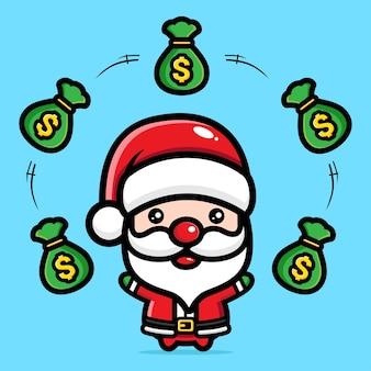 돈 가방을 던지는 귀여운 산타 클로스