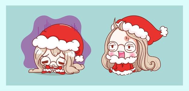 かわいいサンタクロースは、キャラクターのデザインでメリークリスマスの背景に孤立して疲れて疲れ果てています。