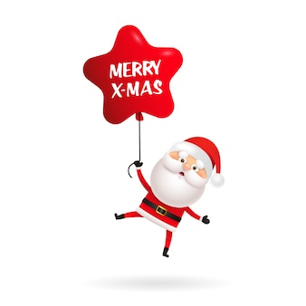 Cute santa claus wishing merry christmas