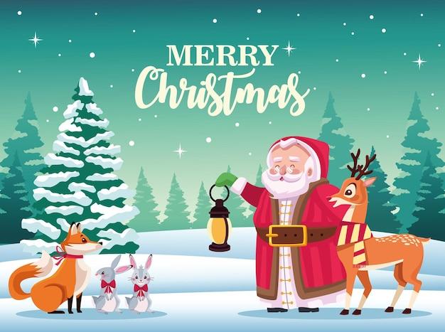 눈 장면 그림에서 동물들과 함께 귀여운 산타 클로스