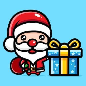 큰 선물을 가진 귀여운 산타 클로스