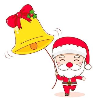 Милый санта-клаус с большим золотым колоколом чиби персонаж иллюстрации