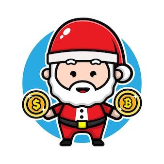 Cute santa claus with bitcoin cartoon character design