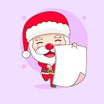 Милый санта-клаус с пустой иллюстрацией персонажа чиби