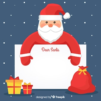 Cute santa claus with blank sign