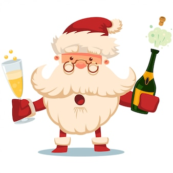 Cute santa claus with champagne bottle and glass  cartoon character isolated on white .