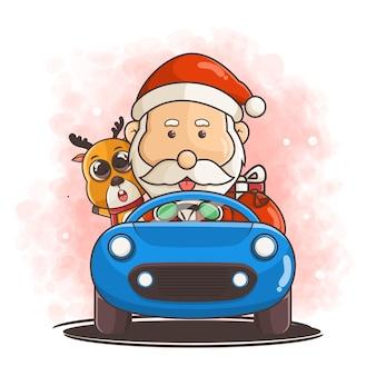 Милый санта-клаус с оленями за рулем автомобиля иллюстрации