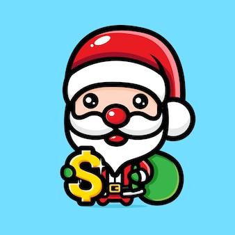 달러 기호로 귀여운 산타 클로스